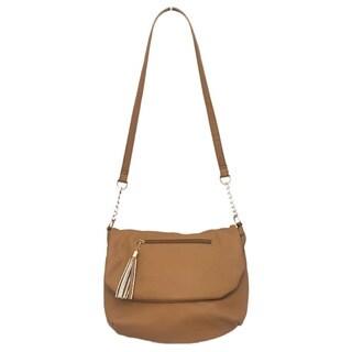 Camel Soft Faux Leather Crossbody Bag