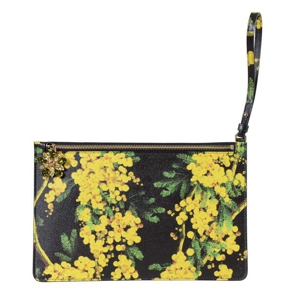 Dolce & Gabbana Floral Print Leather Wristlet
