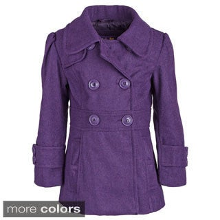 Pink Platinum Little Girls Wool Look Dressy Double Breasted Waisted Pea Coat