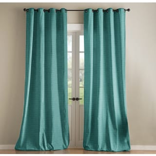 Jennifer Taylor Blue Embroidered Poly Silk Dupioni Curtain Single Panel