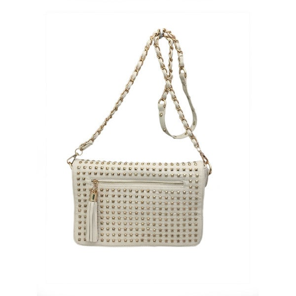 Ivory Faux Leather Studded Crossbody Bag