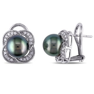 Miadora 10k White Gold Tahitian Pearl and 1/4ct TDW Diamond Earrings (G-H, I2-I3) (8-8.5 mm)