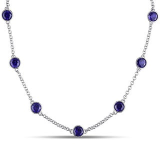 Miadora Sterling Silver Created Blue Sapphire Station Necklace
