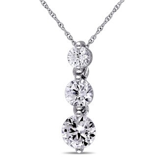 Miadora 10k White Gold Created White Sapphire 3-stone Necklace