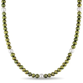 Miadora Cultured Freshwater Green and White Pearl Necklace (5-7 mm)