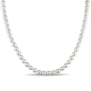 Miadora Silvertone Cultured Freshwater White Pearl Necklace (5-6 mm)