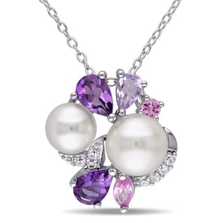 Miadora Sterling Silver Cultured Freshwater White Pearl Multi-gemstone Necklace (6.5-8 mm)