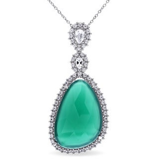 Miadora Sterling Silver Green Onyx and White Topaz Necklace