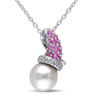 Miadora Sterling Silver Freshwater Pearl Created Pink Sapphire 1/10ct Diamond Necklace (G-H, I2-I3) (8-8.5 mm)