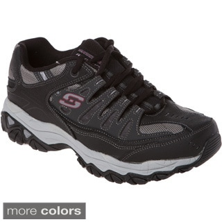 Skechers Memory Foam Footbed Leather/ Mesh Overlay Lace Up Sneaker