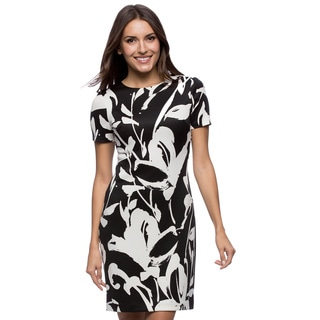 Vince Camuto Short Sleeve Black/ White Printed Scuba Dress