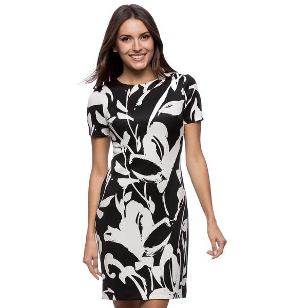 Vince Camuto Short Sleeve Black/ White Printed Scuba Dress