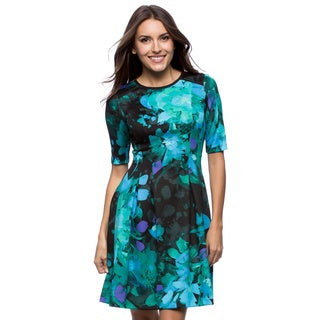 Vince Camuto 3/4 Sleeve Printed Scuba Dress
