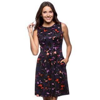 Vince Camuto Sleeveless Fit And Flare Purple Printed Scuba Dress