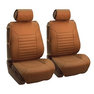 FH Group Tan Multifunctional Quilted Leather Seat Cushion Pads (Set of 2)