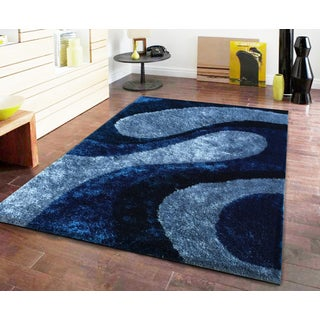 Rg Addiction Hand-tufted Polyester Ocean Blue Shag Area Rug with Design Hand Tufted Rug (5'x7')