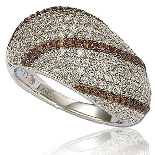 Suzy Levian Sterling Silver Cubic Zirconia Brown Chocolate Ring
