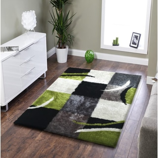 Rug Addiction Hand-tufted Polyester Black, Gree, Grey Area Rug (5'x7')