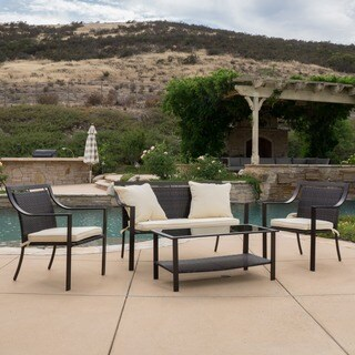 Christopher Knight Home San Mateo 4-piece Aluminum Outdoor Sofa Set with Cushions