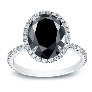 Auriya 18k White Gold 4 1/2ct TDW Black Oval-cut Diamond Engagement Ring (Black, SI1-SI2)