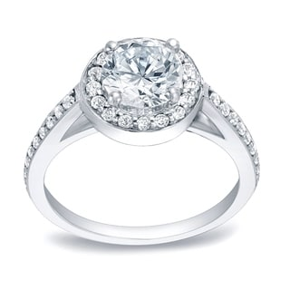 Auriya 14k White Gold 1/2ct TDW Halo Diamond Engagement Ring (H-I, SI1-SI2)