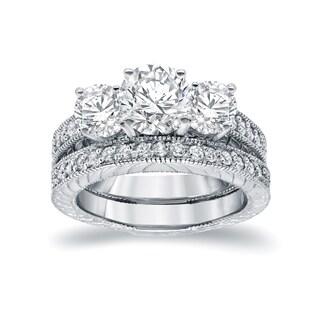 Auriya 14k White Gold 1 1/2ct 3-Stone Filigree Bridal Ring Set (H-I, SI1-SI2)