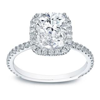 Auriya 14k White Gold 3ct TDW Certified Cushion Diamond Engagement Ring (H-I, SI1-SI2)