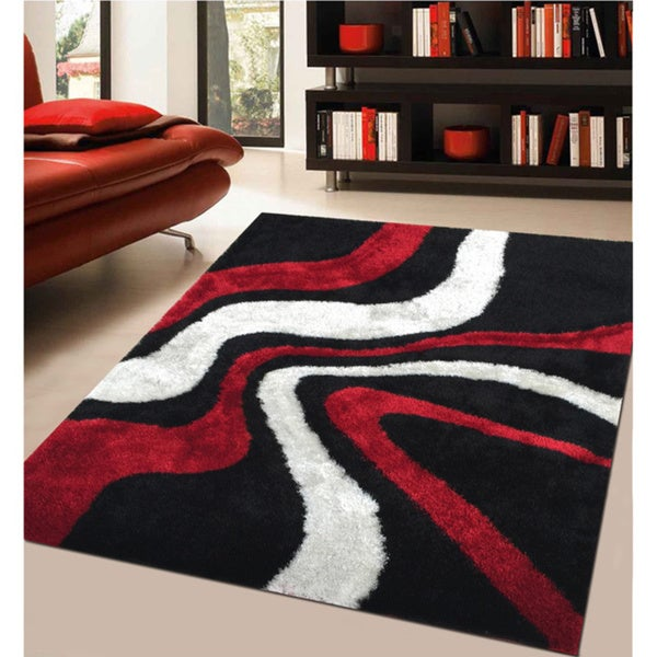 Rug Addiction Hand Tufted Polyester Red And Black Shag