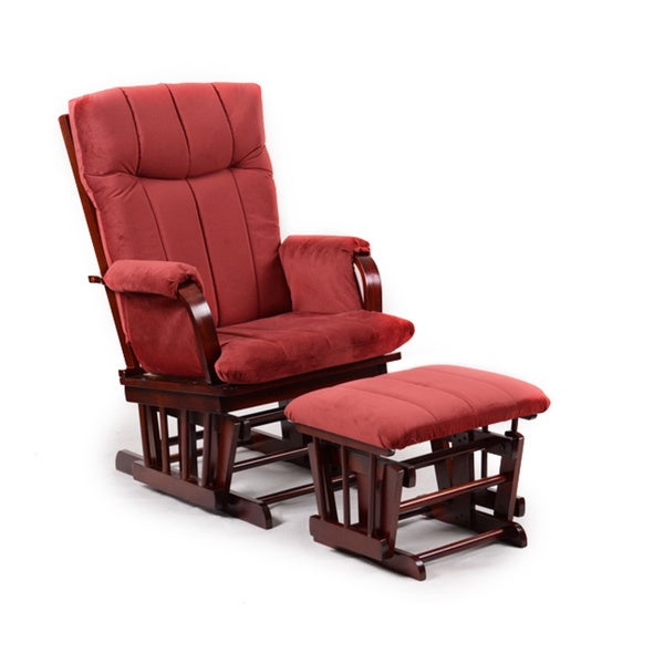 Artiva USA Home Deluxe Marsala Super Soft Microfiber and Cherry Wood Glider and Ottoman set