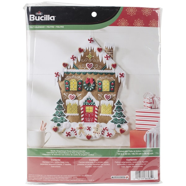 Nordic Gingerbread House Felt Applique Kit18inx23in