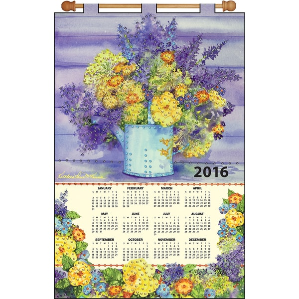 Yellow Floral 2016 Calendar Felt Applique Kit16inX24in