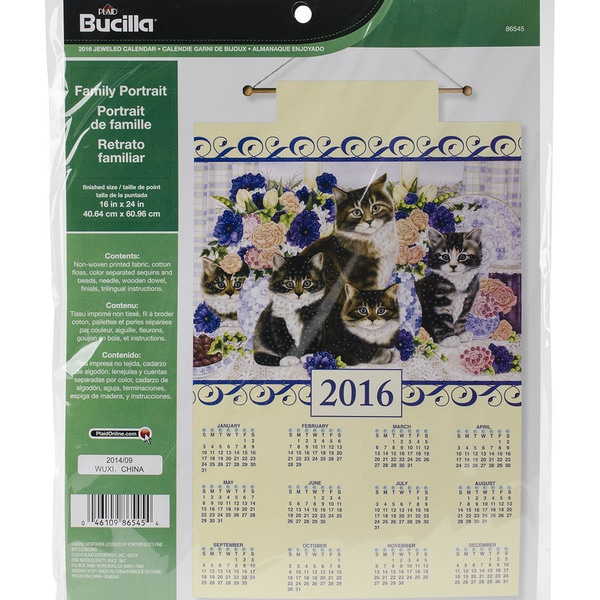 Family Portrait 2016 Calendar Felt Applique Kit16inX24in