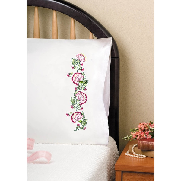 Stamped Pillowcase Pair For Embroidery 20inX30inPink Floral Fan
