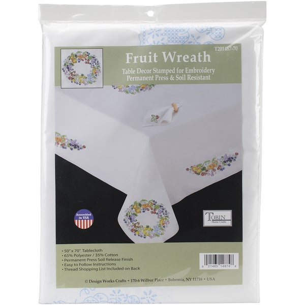 Stamped White Tablecloth For Embroidery 50inX70inFruit Wreath