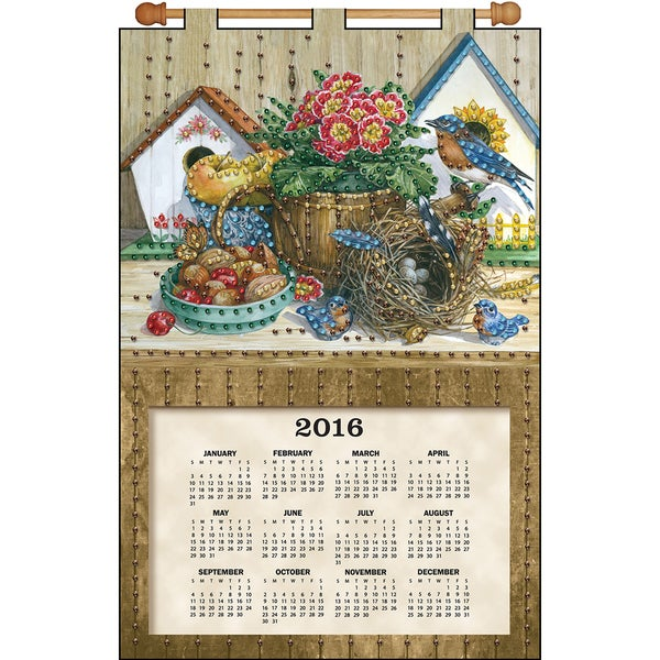 Birds Nest 2016 Calendar Felt Applique Kit16inX24in
