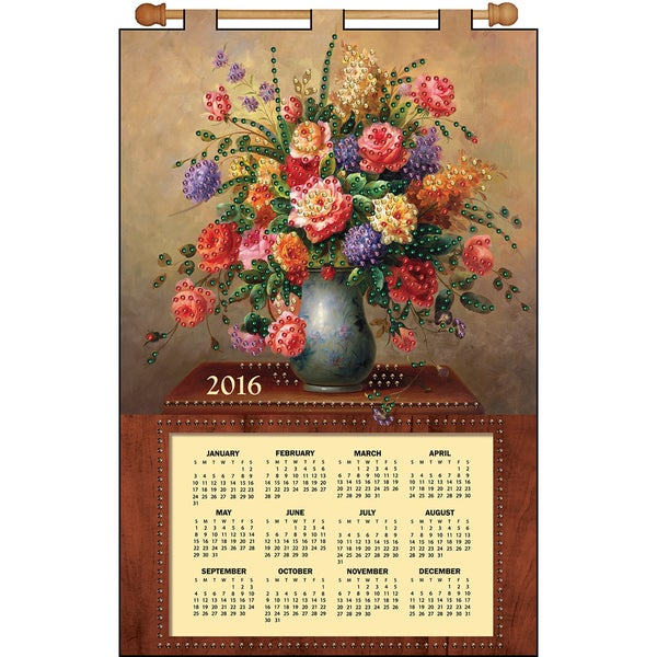 Floral Vase 2016 Calendar Felt Applique Kit16inX24in