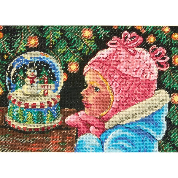 Gold Petite Christmas Wishes Counted Cross Stitch Kit7inX5in 18 Count