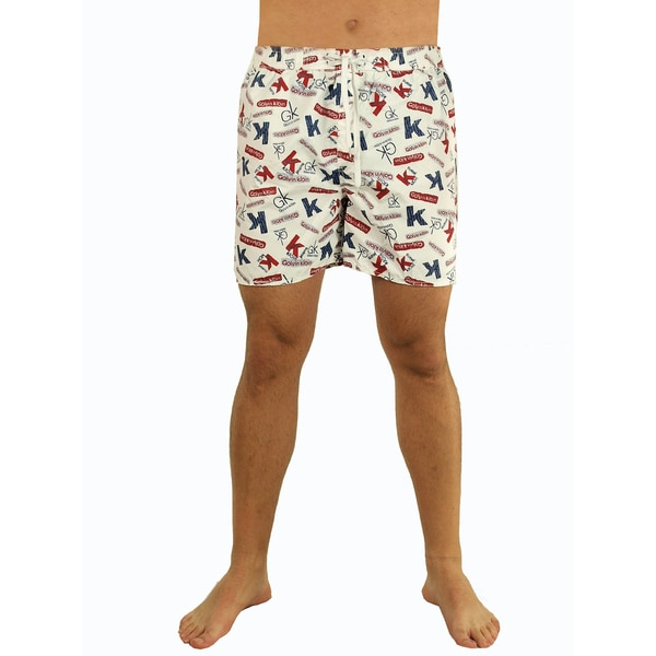 Men's White Text Print Swim Shorts