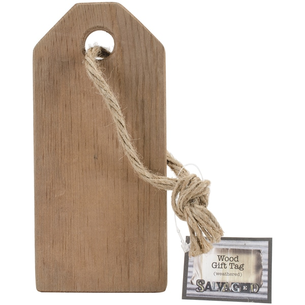 Salvaged Wood Gift Tag 7inX3inX.5inWeathered Wood