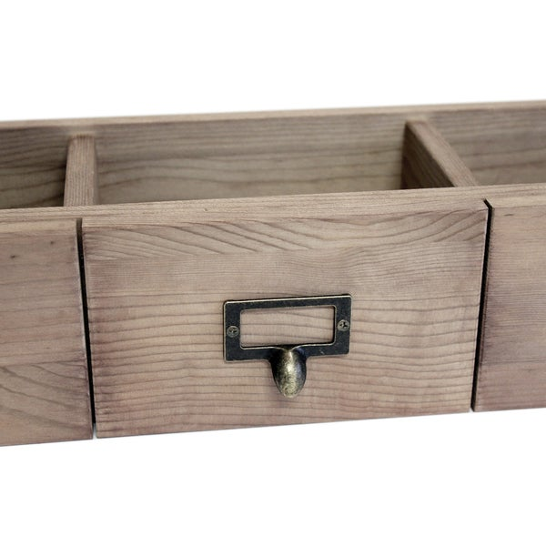 Salvaged 3 Drawer Set 21inX6inX4.25inWeathered Wood