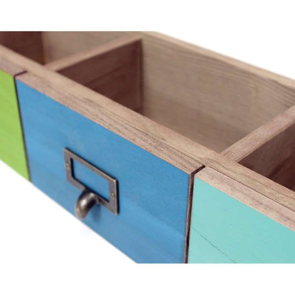 Salvaged 3 Drawer Set 21inX6inX4.25inTurquoise, Blue & Lime Green