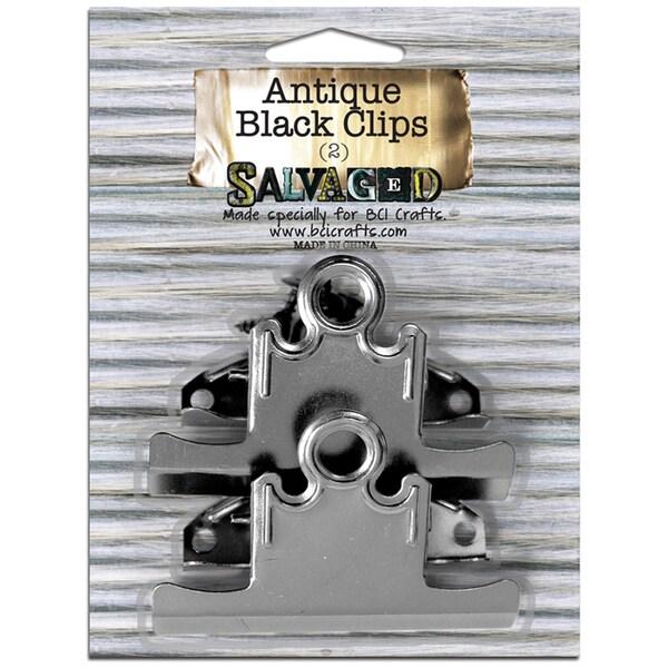 Salvaged Antique Black Clips 2/Pkg