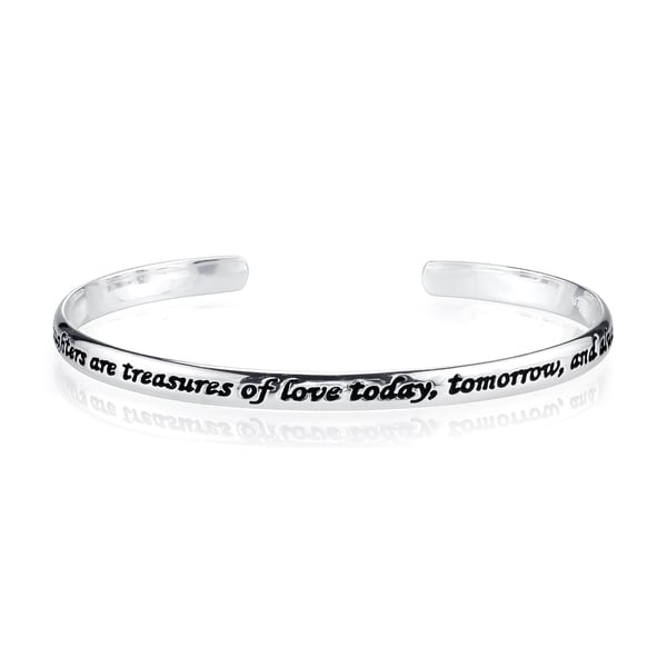 Silvertone 'Daughters' Inspirational Cuff Bracelet