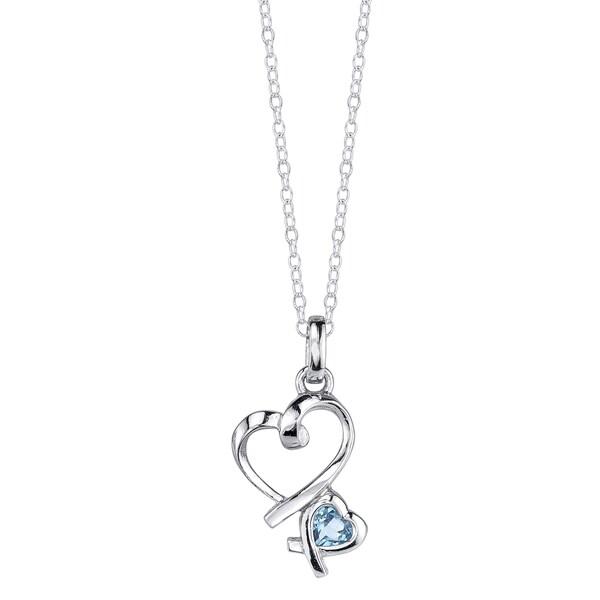 Sterling Silver Blue Topaz Double Heart Pendant