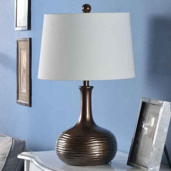Creek Classics 28-inch Metallic Bronze Glazed Ceramic Table Lamp