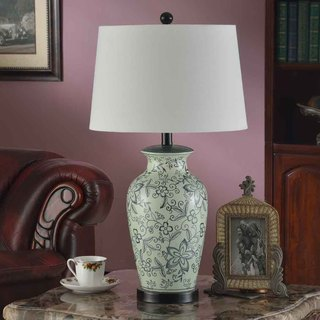 Creek Classics 29-inch Blue and White Ceramic Flora Table Lamp