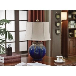 Creek Classics Cream and Blue Metallic Drip Glaze Ceramic Table Lamp