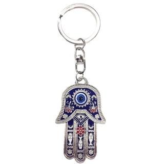 Crystal Florida CF76881024 Hamsa Evil Eye Key Chain Blue Nazar Kabbalah