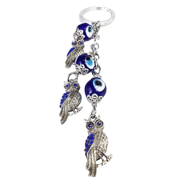 Crystal Florida CF76881324 Evil Eye Key Chain with Three Owls Nazar Kabbalah