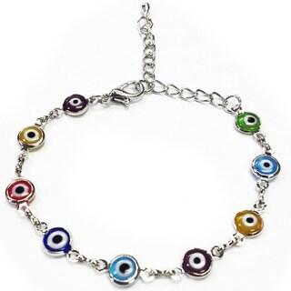 Crystal Florida Silver Evil Eye Bracelet